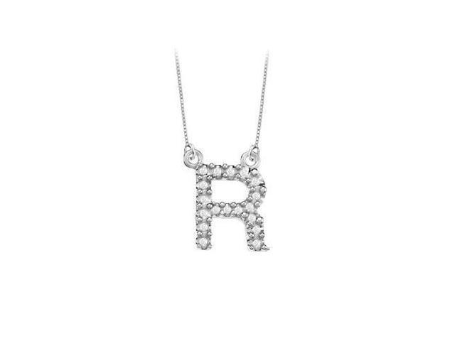 Petite Baby Charm Diamond R Initial Pendant  14K White Gold - 0.20 CT Diamonds
