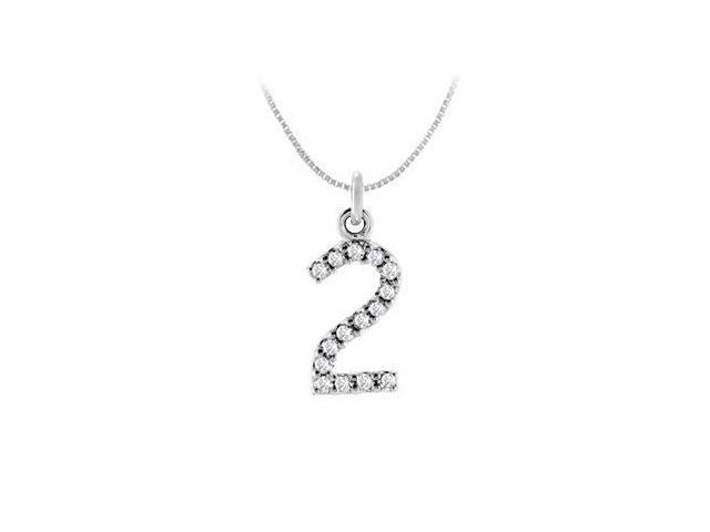 Cubic Zirconia Numeric 2 Charm Pendant  .925 Sterling Silver - 0.07 CT TGW