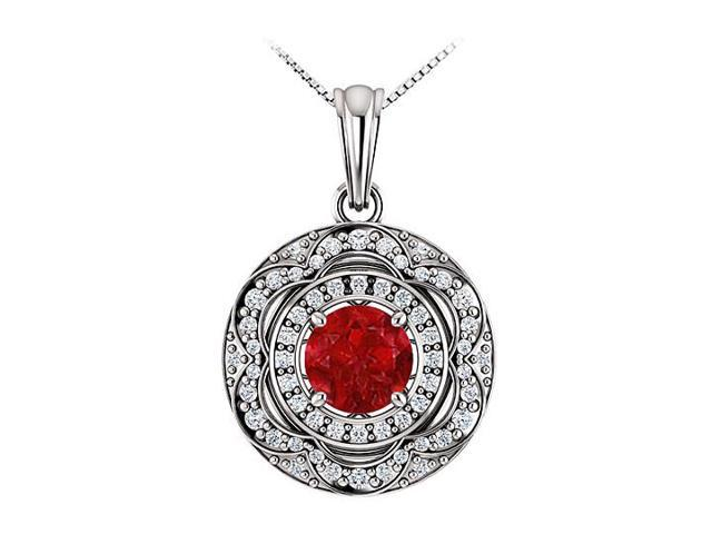 July Birthstone Ruby and Cubic Zirconia Halo Pendant in 14K White Gold 1.50 CT TGW