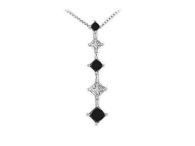 Black and White Diamond Journey Pendant  14K White Gold - 1.00 CT Diamonds