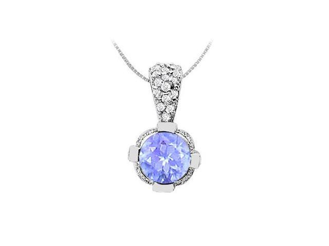Pave Set Cubic Zirconia with Round Created Tanzanite Pendant in 14K White Gold 2.20 Carat TGW