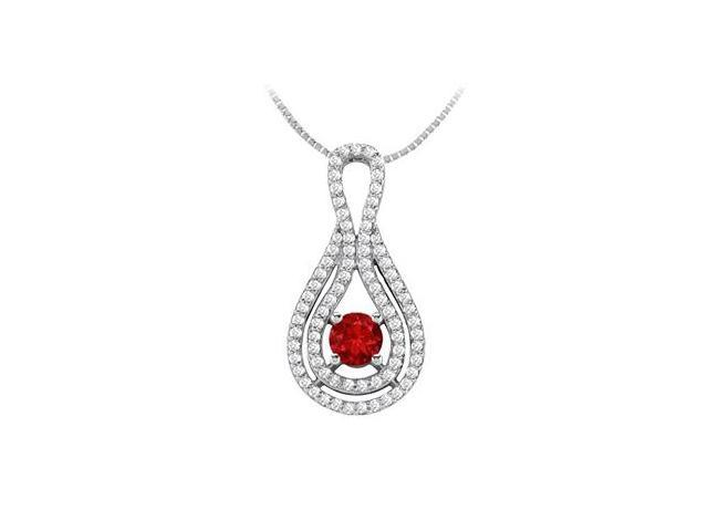 Diamond and Natural Ruby Pendant in 14K White Gold 1.25 Carat TGW