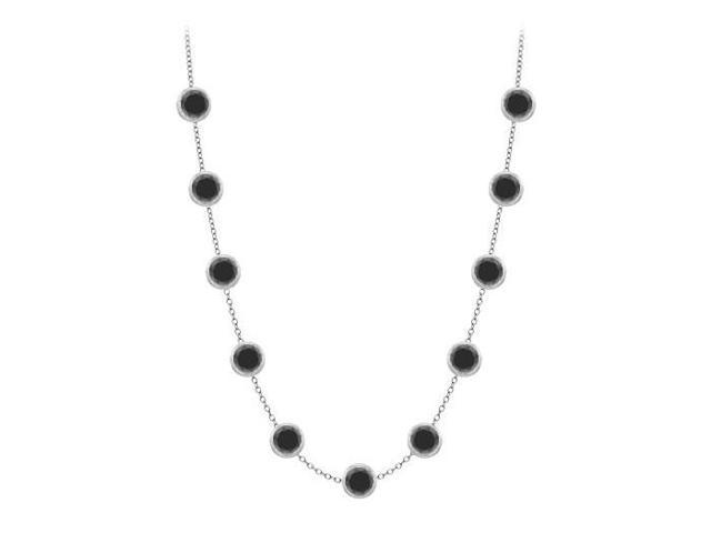 Diamonds by the Yard Necklace in 14K White Gold Bezel Set. 2.ct.tw Black Diamonds