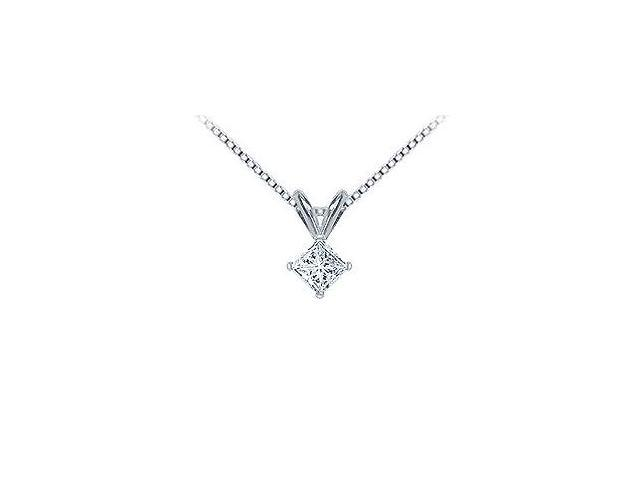 Platinum  Princess Cut Diamond Solitaire Pendant - 0.33 CT. TW.