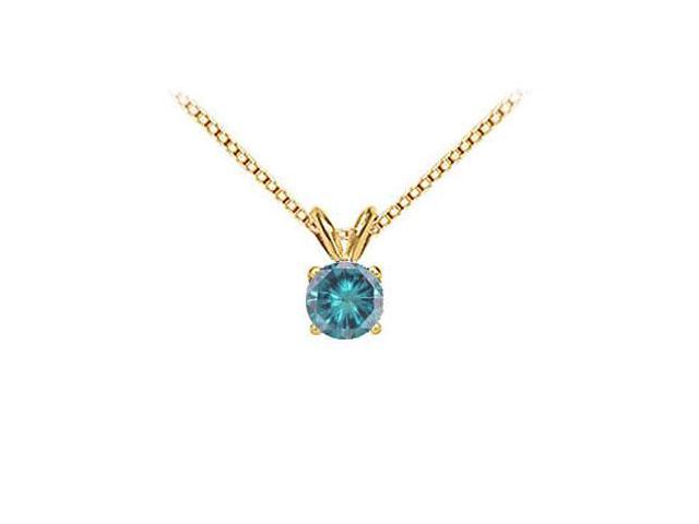Blue Diamond Solitaire Pendant  14K Yellow Gold 2.00 CT Diamond