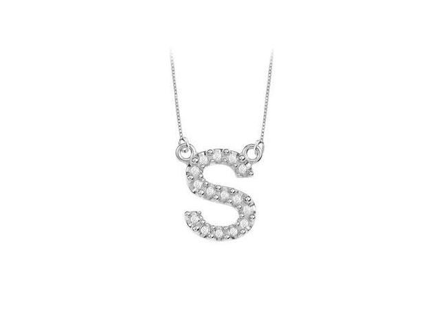 Petite Baby Charm Cubic Zirconia S Initial Pendant  .925 Sterling Silver - 0.20 CT TGW