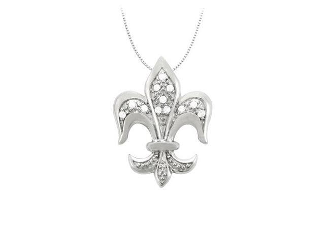 Cubic Zirconia Fleur-de-Lis Symbol Shaped Pendant in Sterling Silver 1.25 CT TGW