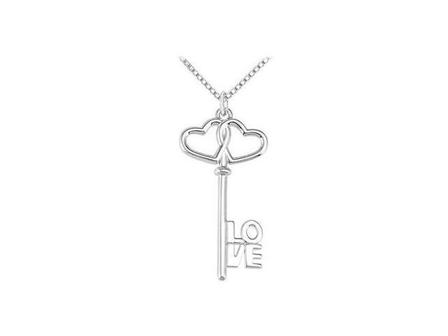 Double Heart Entwined Love is the Key Pendant in .925 Sterling Silver 32.50X15.25 MM