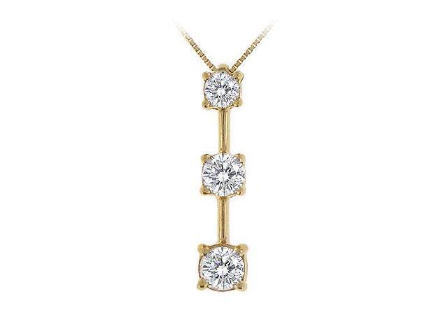 Three Stone Diamond Pendant  14K Yellow Gold - 1.00 CT Diamonds