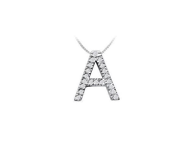 Classic A Initial Diamond Pendant  14K White Gold - 0.30 CT Diamonds