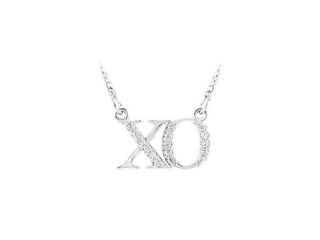 XO symbol Pendant in White Gold with Cubic Zirconia 0.15 CT TGWFriendship Necklace