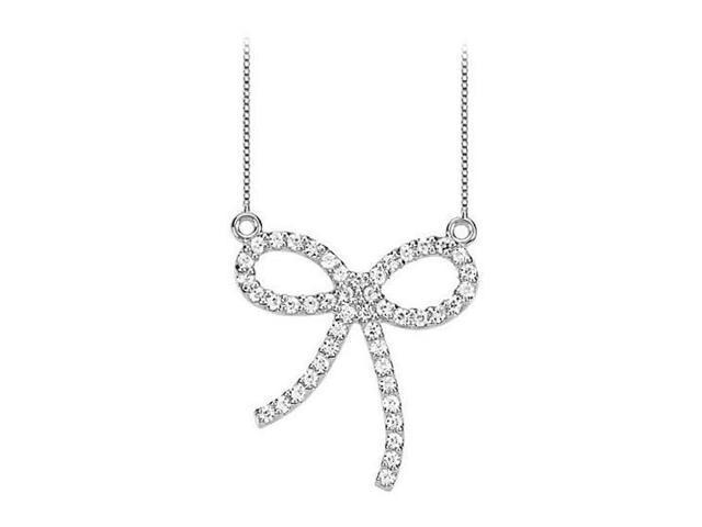 Diamond Bow Pendant in 14kt White Gold 0.50.ct.tw