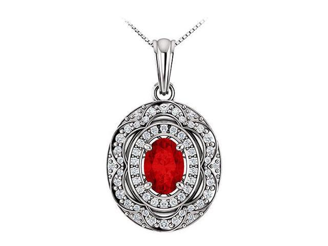 July Birthstone Oval Ruby and CZ Halo Pendant in 14K White Gold 1.50 CT TGW
