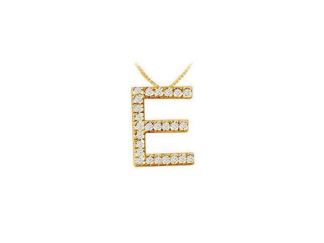 Classic E Initial Diamond Pendant  14K Yellow Gold - 0.40 CT Diamonds