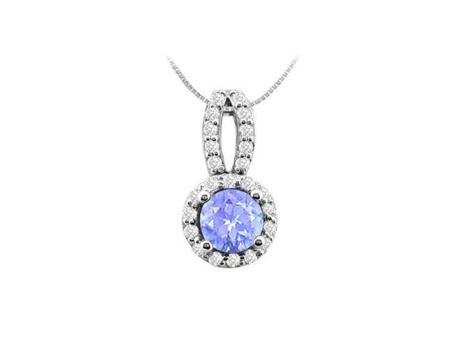 Created Tanzanite Prong Set with Cubic Zirconia 2.50 Carat TGW in 14K White Gold