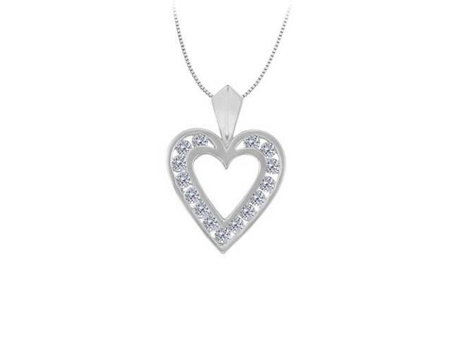 April birthstone Channel Set Diamond Heart Pendant in 14K White Gold 0.50 CT TDW
