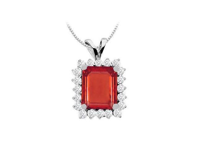 8 Carat GF Bangkok Ruby Emerald Cut with Cubic Zirconia Pendant in 14K White Gold 9 Carat TGW