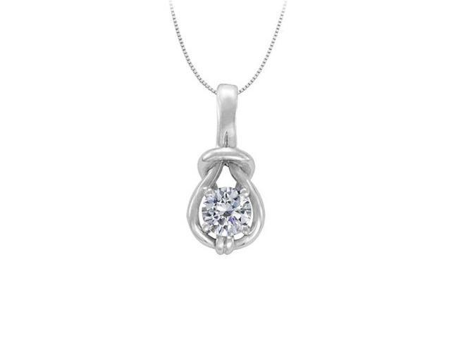 Knot pendant April Birthstone Cubic Zirconia in Sterling Silver with 1.00 CT TGW