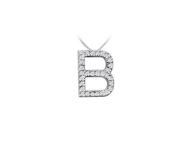 Classic B Initial Diamond Pendant  14K White Gold - 0.45 CT Diamonds