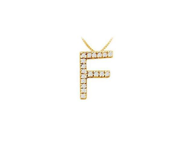 Classic F Initial Diamond Pendant  14K Yellow Gold - 0.25 CT Diamonds