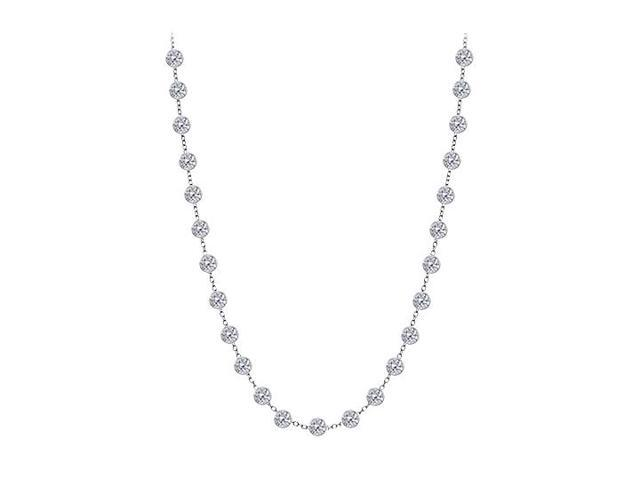 Cubic Zirconia By The Yard Necklace in 925 Sterling Silver 1.25 CT TW
