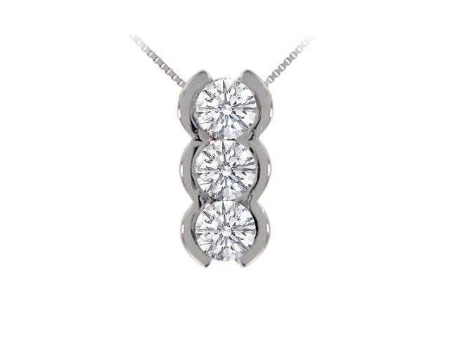 Three Stone Diamond Pendant  14K White Gold - 1.00 CT Diamonds