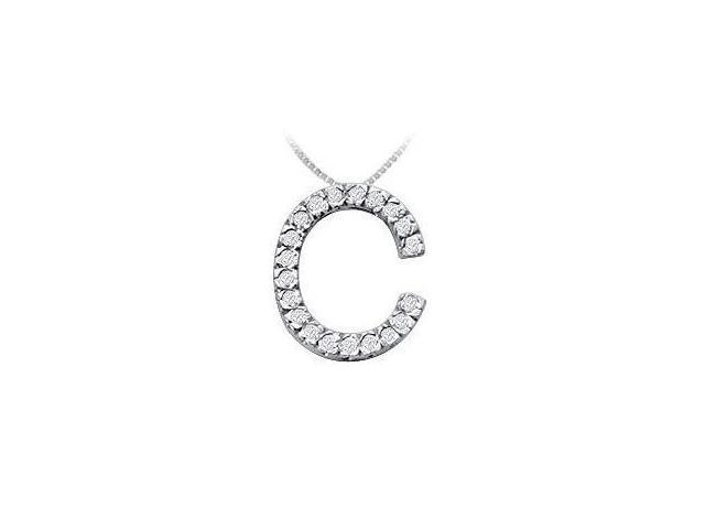 Classic C Initial Diamond Pendant  14K White Gold - 0.30 CT Diamonds