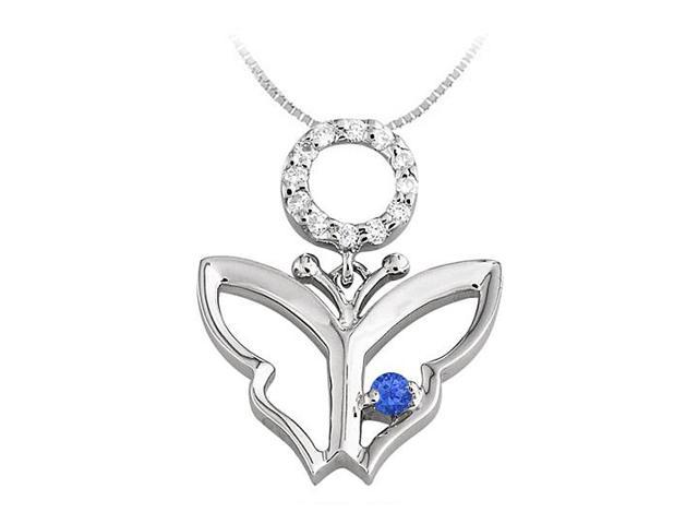 Butterfly Pendant Necklace with Sapphire and Diamond in 14kt White Gold 0.15 CT TGW