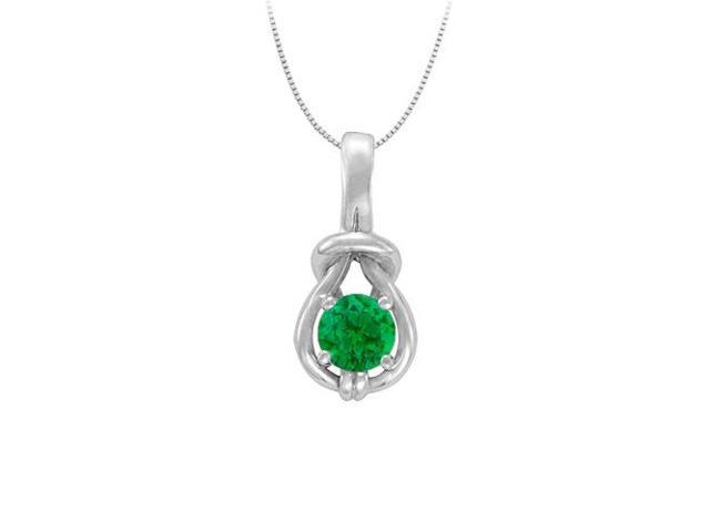 Knot Pendant in Sterling Silver with May Birthstone Created Emerald 1.00 CT TGW
