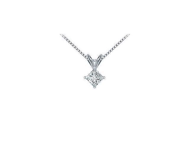 Platinum  Princess Cut Diamond Solitaire Pendant - 0.75 CT. TW.