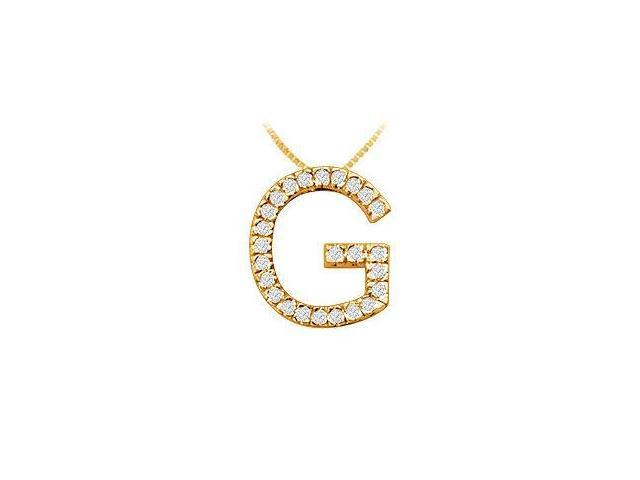 Classic G Initial Diamond Pendant  14K Yellow Gold - 0.40 CT Diamonds