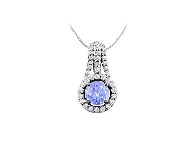 Round Created Tanzanite Accented with Cubic Zirconia Pendant in 14K White Gold 2.50 Carat TGW