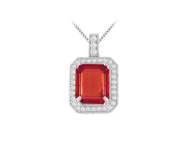 GF Bangkok Ruby Emerald Cut Pendant with CZ in 14K White Gold 9.35 Carat TGW