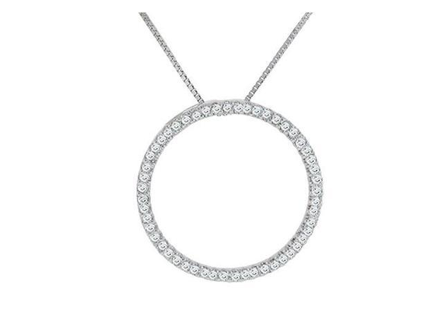 Diamond Circle Pendant  14K White gold - 0.25 CT Diamonds