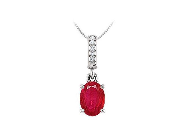 July Birthstone Created Ruby Pendant with CZ in 14kt White Gold 1.05 CT TGW