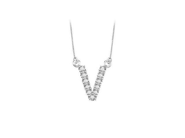 Petite Baby Charm Cubic Zirconia V Initial Pendant  .925 Sterling Silver - 0.15 CT TGW