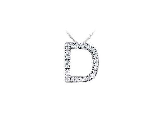 Classic D Initial Diamond Pendant  14K White Gold - 0.45 CT Diamonds
