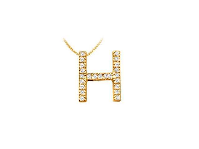 Classic H Initial Diamond Pendant  14K Yellow Gold - 0.35 CT Diamonds