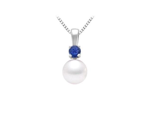 Cultured Akoya Pearl and Sapphire Pendant  14K White Gold - 0.10 CT TGW