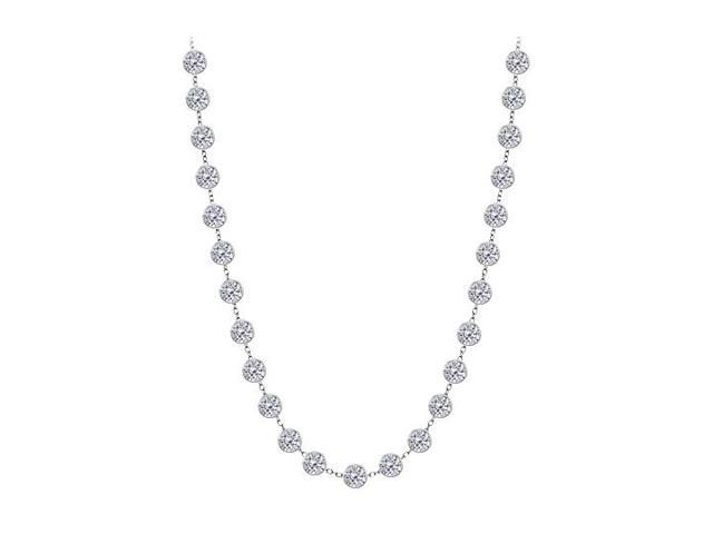 Cubic Zirconia By The Yard Necklace in 925 Sterling Silver 4.00 CT TW