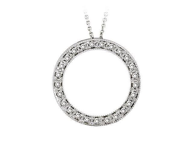 Diamond Circle Pendant  14K White Gold - 1.00 CT Diamonds