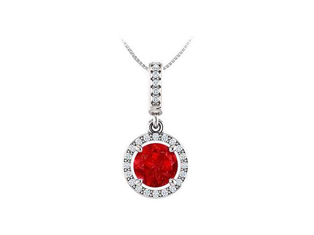 July Birthstone Ruby and CZ Halo Gemstone Pendant 14K White Gold 1.25 CT TGW with 14K Chain