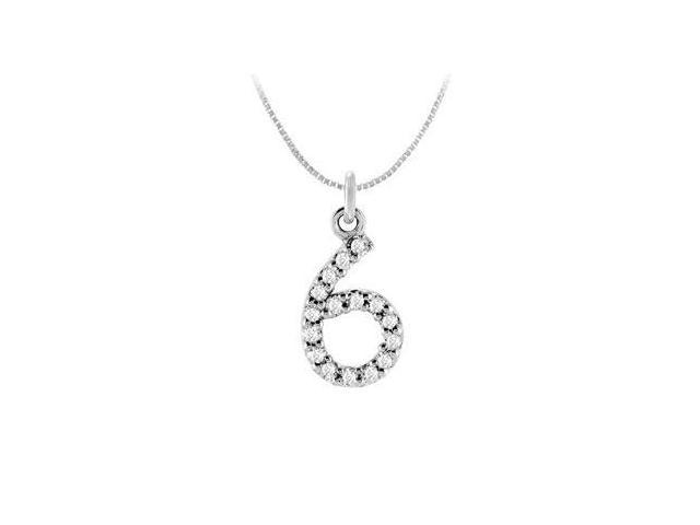 Cubic Zirconia Numeric 6 Charm Pendant  .925 Sterling Silver - 0.07 CT TGW