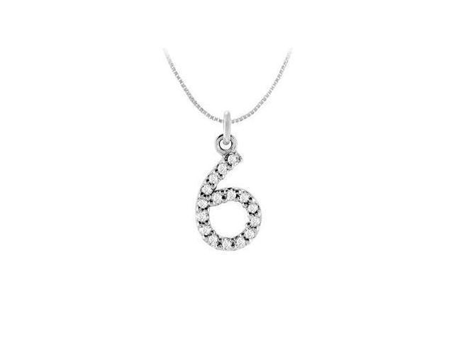 Diamond Numeric 6 Charm Pendant  14K White Gold - 0.07 CT Diamonds