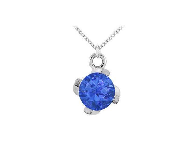 September Birthstone Created Sapphire Pendant 14kt White Gold 1.00 CT TGW