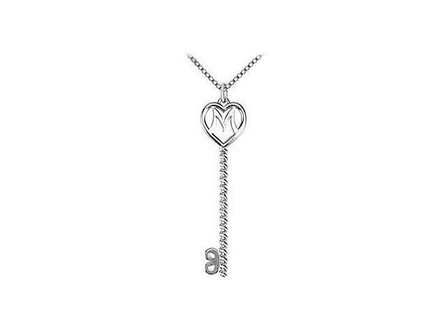 Mother Heart Key Pendant in Rhodium Plating .925 Sterling Silver
