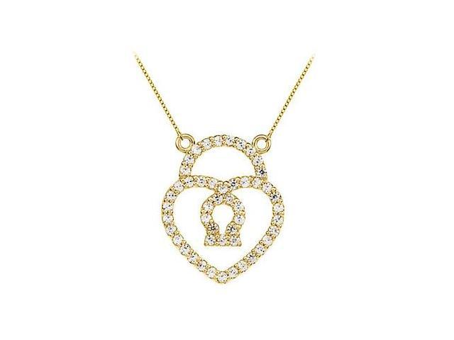 Diamond Petite Heart Lock Charm Pendant in 14kt Yellow Gold 0.50.ct.tdw
