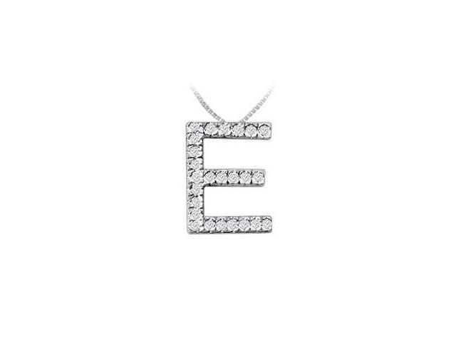 Classic E Initial Diamond Pendant  14K White Gold - 0.40 CT Diamonds