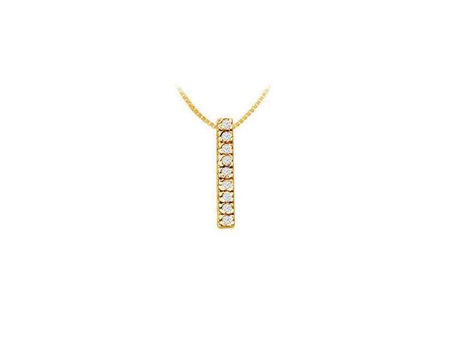 Classic I Initial Diamond Pendant  14K Yellow Gold - 0.15 CT Diamonds