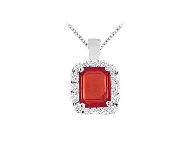 Emerald cut GF Bangkok Ruby and round CZ with 9.60 carat pendant in white gold 14k
